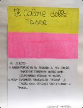 Ich habe Gelb gewählt, weil es eine lebhafte Farbe ist, die Aufrichtigkeit mitteilt wie die Steuern sein müssten; rosa lässt an Ruhe denken, weil Steuern das Land nicht beunruhigen sollten. Melissa Crugnale