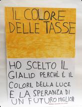 Ich habe Gelb gewählt, weil es die Farbe des Lichts und der Hoffnung auf eine bessere Zukunft ist. Alessandro Ceccarini Klasse I E
