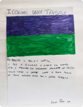 J'ai choisi le bleu et le vert, le bleu me rappelle le ciel de nuit, qui est agréable à voir et qui fait peur comme les impôts, le vert comme le pré parce que les impôts servent aussi pour les espaces verts publics. Giacomo Parma, CM2