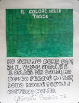 J'ai choisi le vert comme couleur, parce que c'est la couleur de l'argent, mais vert foncé parce qu'on paie beaucoup d'impôts et qu'ils coûtent très chers. Beatrice Ghinelli, CM1