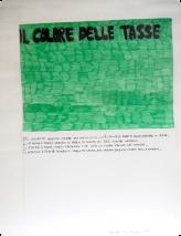 J'ai choisi cette couleur pour plusieurs raisons: d'abord, parce que les impôts te mettent «au vert», sur la paille. Ensuite, parce que quand on parle d'impôt, on pense aux billets verts. Encore ensuite, parce que le vert évoque l'espoir qu'un jour, les taxes diminuent. Enfin, parce que quand on parle des impôts, mon grand-père devient vert de rage. Denise Di Cicilia, CM1