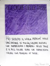J'ai choisi le violet parce qu'il est le résultat de l'union du fuchsia, une couleur gaie qui représente les bénéfices des impôts, et du bleu, une couleur sombre qui représente ceux qui fraudent le fisc. Sara Migani CM1