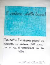 J'ai choisi le bleu ciel, parce qu'il me rappelle la couleur de l'air, dont on sait qu'il est essentiel pour la vie. Ortolani Alice CM1